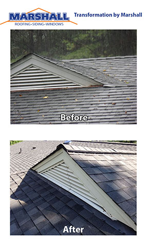 Roof replacement before and after transformation pictures. Northern Virginia Roofing Contractors Gable Vents