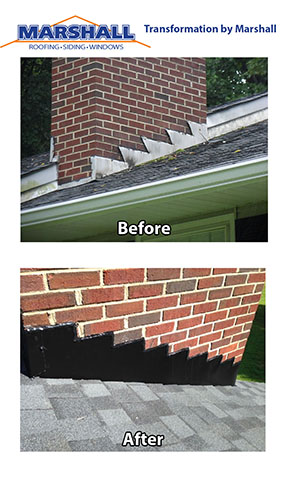 Roof replacement before and after transformation pictures. Northern Virginia Roofing Contractors chimney flashing