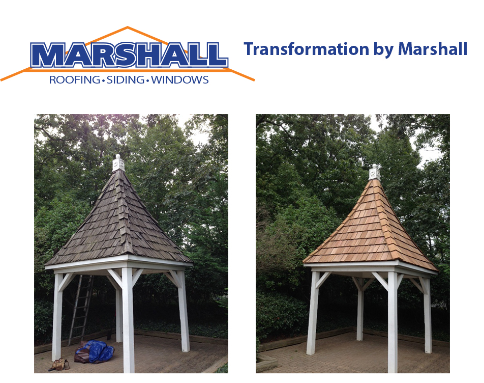 Marshall Roofing Gazebo before and after