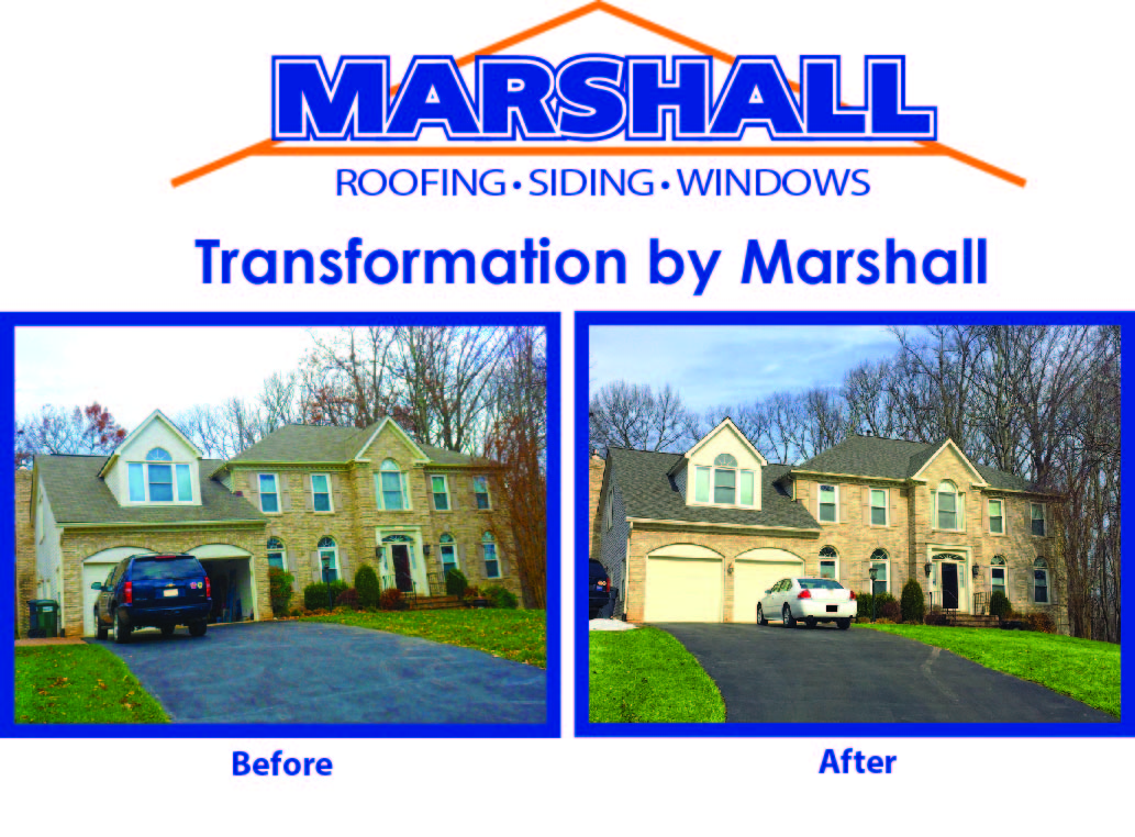before and after northern va roofing job