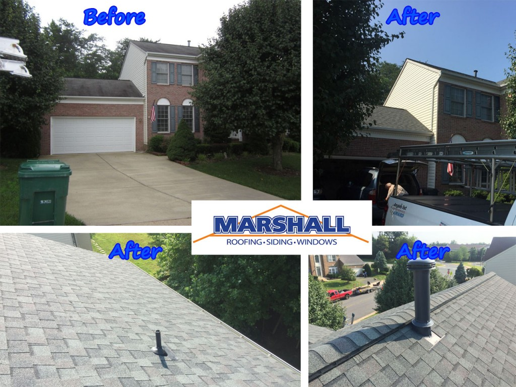 Marshall Roofing Northern VA Maryland Before After Picture