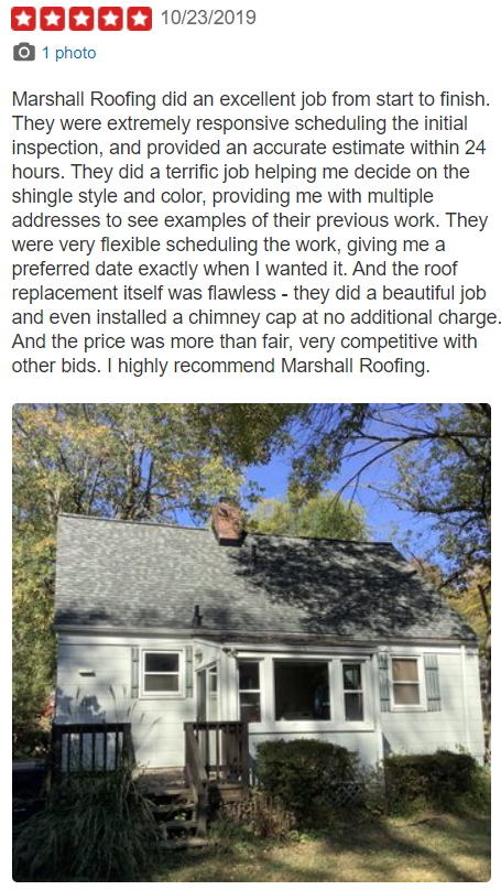 Recent Yelp Reviews 171 Marshall Roofing Siding And Windows