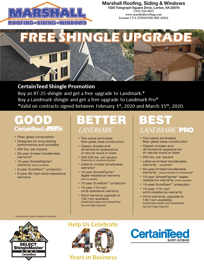 Promotions 171 Marshall Roofing Siding And Windows